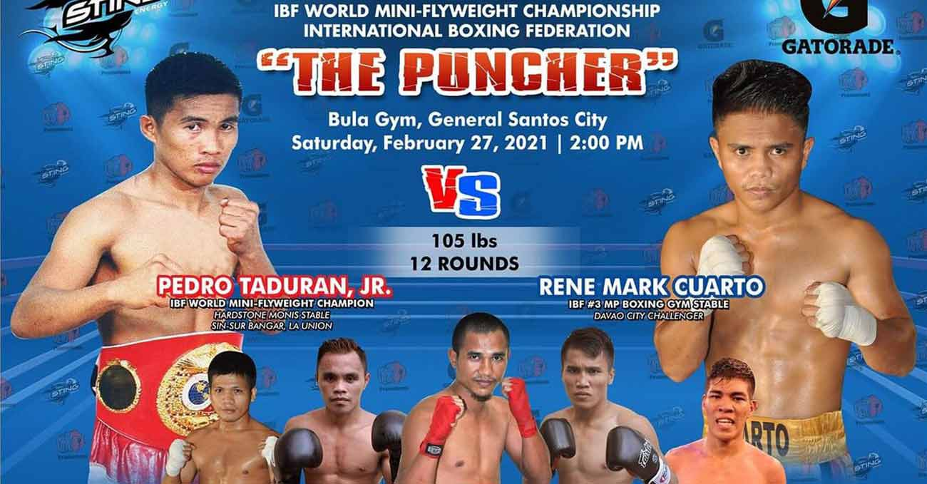 Pedro Taduran vs Rene Mark Cuarto full fight video poster 2021-02-27