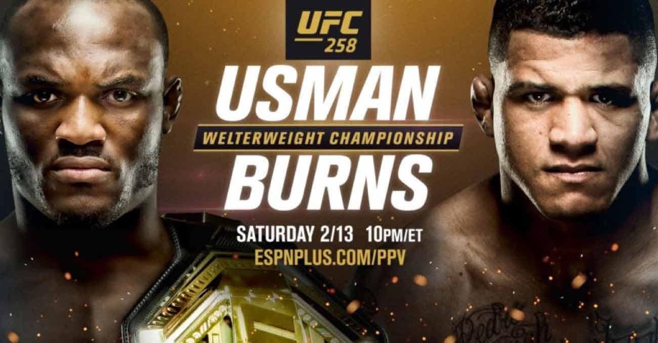 Kamaru Usman vs Gilbert Burns full fight video UFC 258 poster