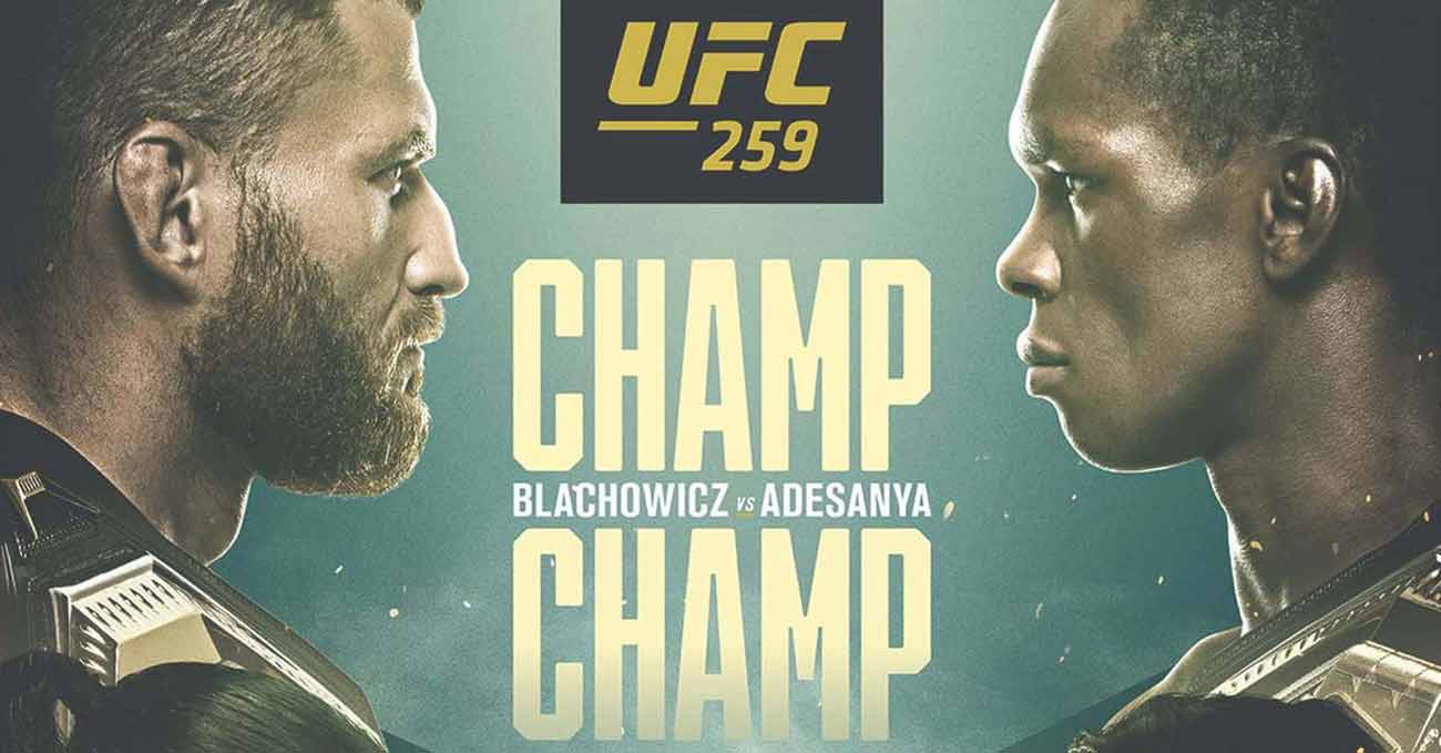 Jan Blachowicz vs Israel Adesanya full fight video UFC 259 poster