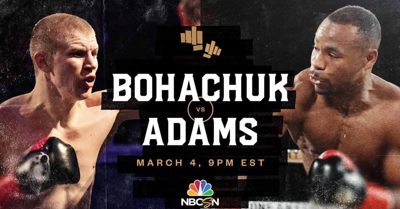 Serhii Bohachuk vs Brandon Adams full fight video poster 2021-03-04