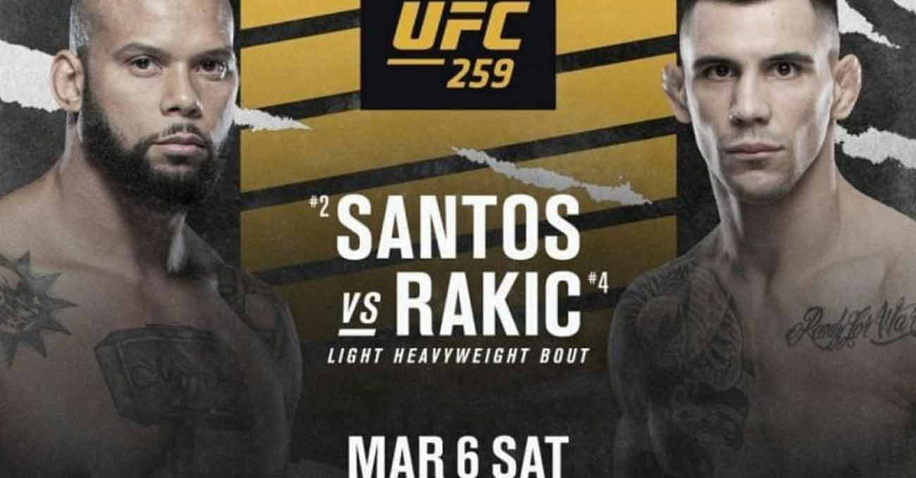 Thiago Santos vs Aleksandar Rakic full fight video UFC 259 poster