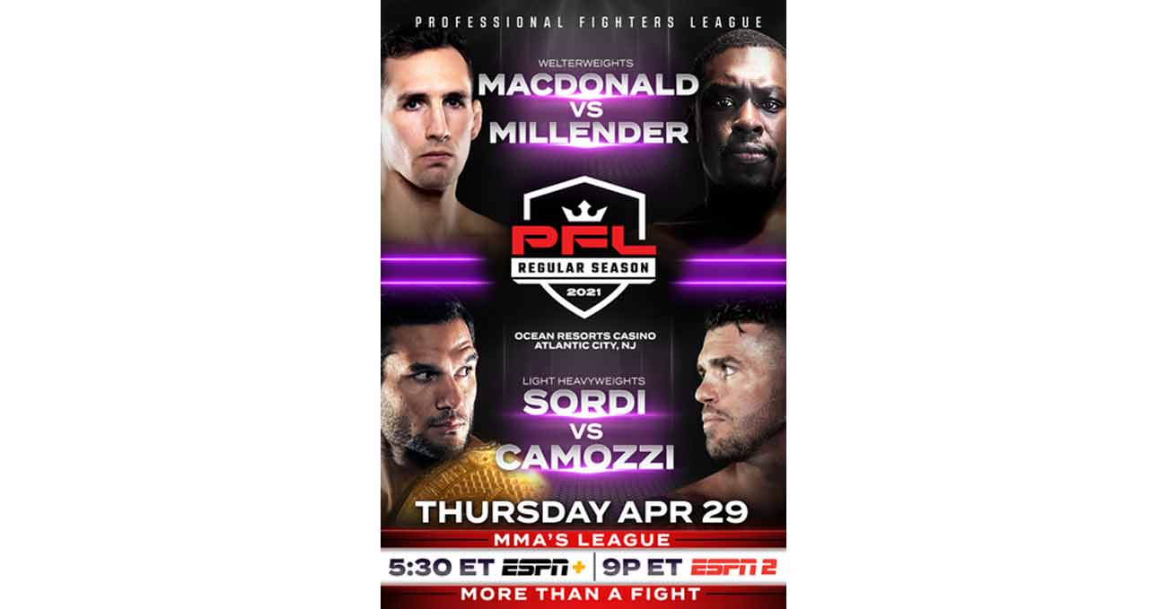 Rory MacDonald vs Curtis Millender full fight video PFL 2 2021 poster