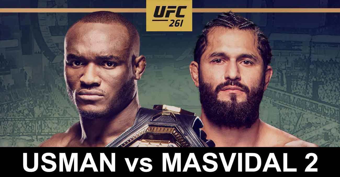 Kamaru Usman vs Jorge Masvidal 2 full fight video UFC 261 poster