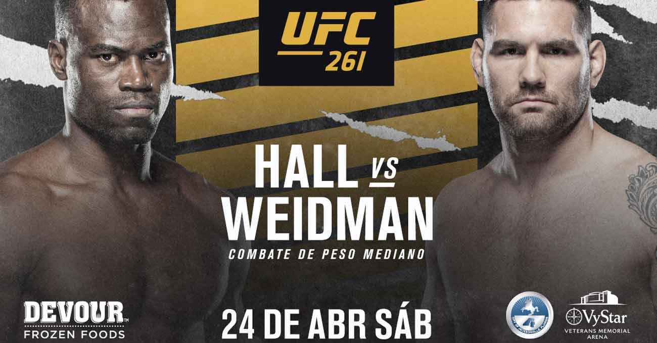 Chris Weidman vs Uriah Hall 2 full fight video UFC 261 poster