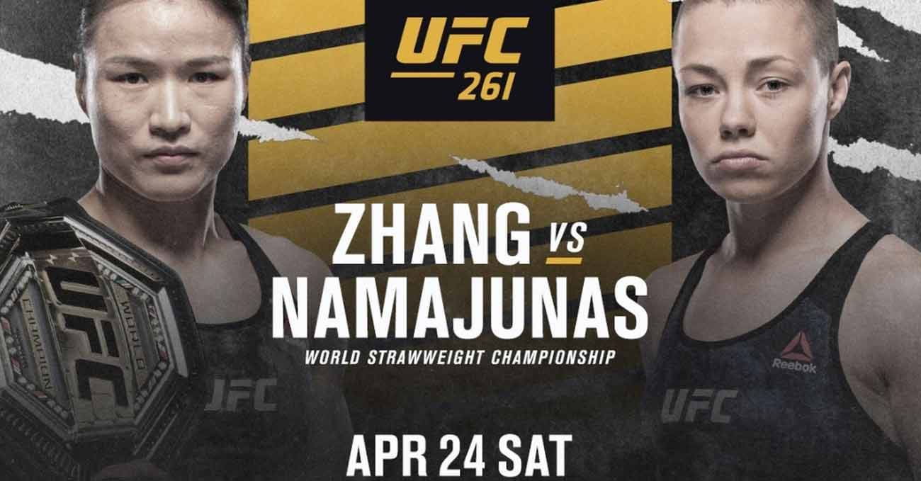 Weili Zhang vs Rose Namajunas full fight video UFC 261 poster