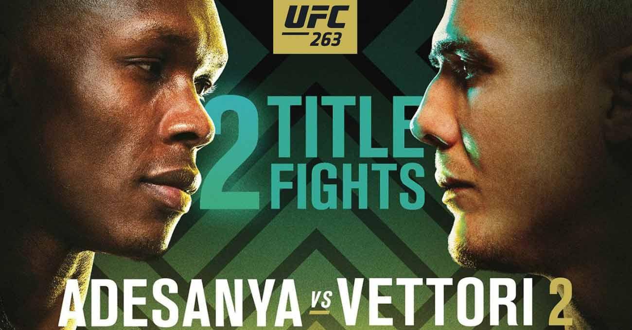 Israel Adesanya vs Marvin Vettori 2 full fight video UFC 263 poster