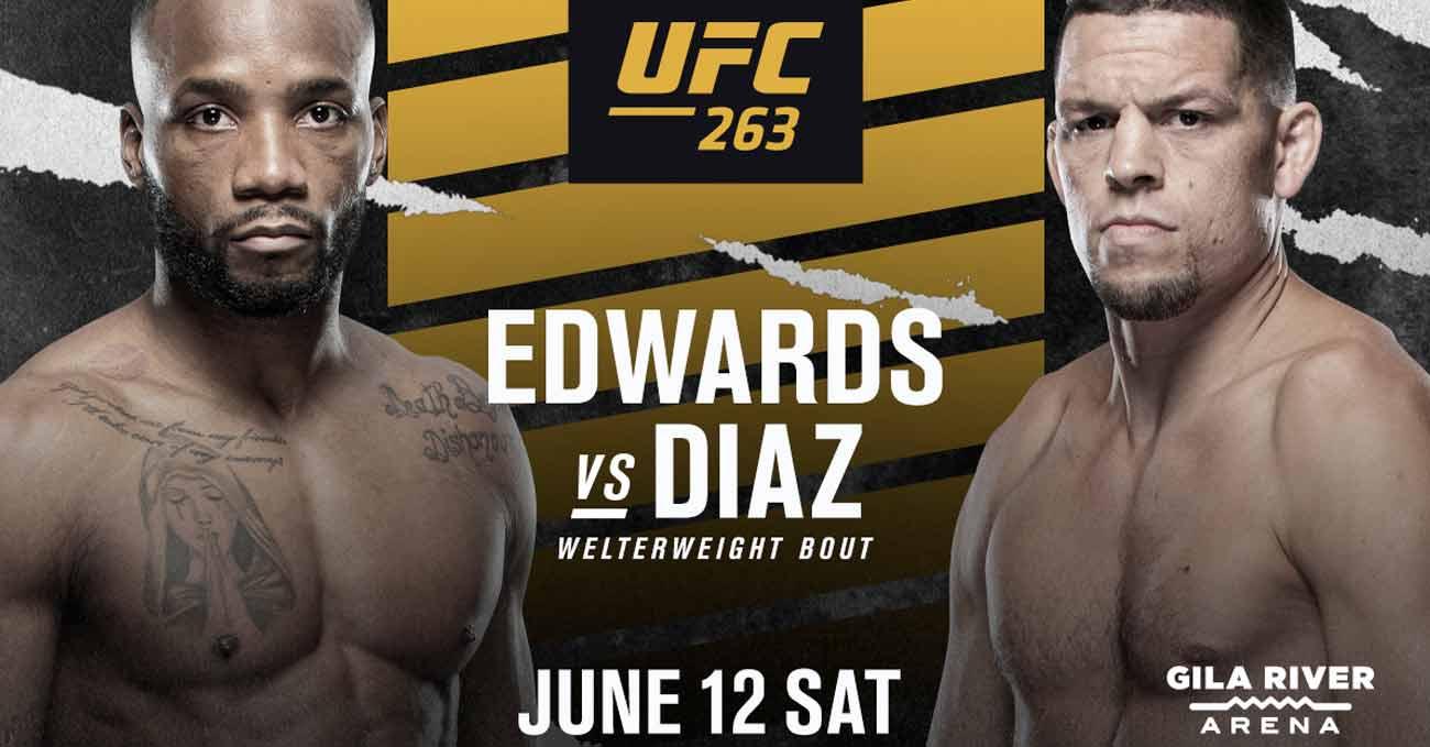 Leon Edwards vs Nate Diaz full fight video UFC 263 poster